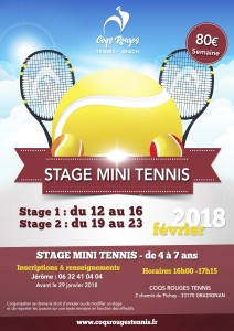 Affiche stage mini tennis février 2018