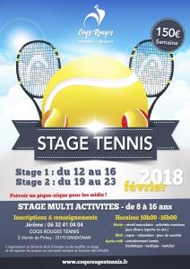 Affiche stage tennis février 2018